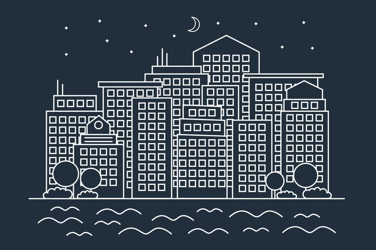 Moderne lineare Nachtstadt