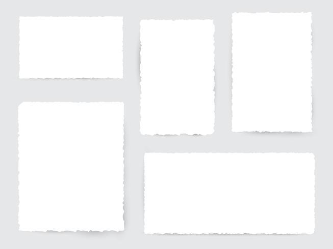 Pedazos de papel rasgado blanco en blanco vector