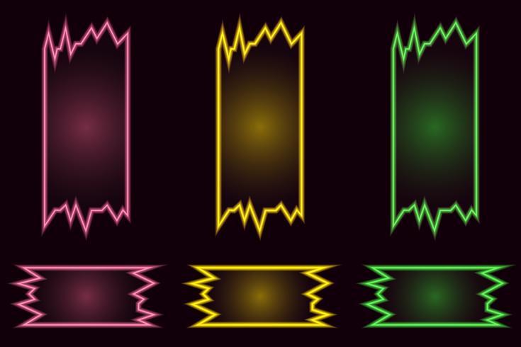 Conjunto de banners de vector de neón brillante geométrica creativa sobre fondo negro