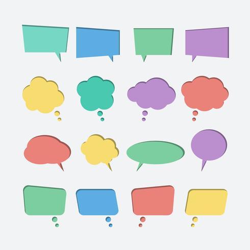 Colección de papel de color cortado iconos de vector de burbujas de discurso