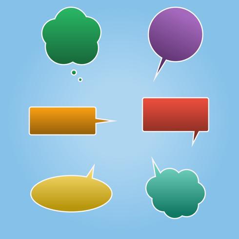 Sats med färgstarka talbubblor vektor