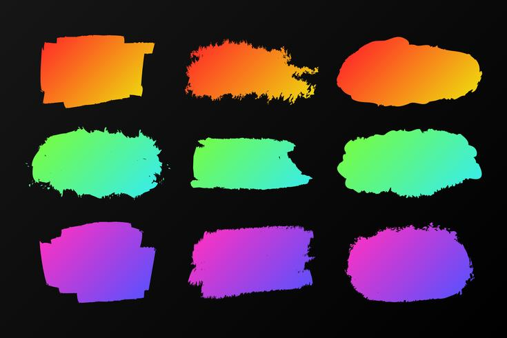 Collection of colorful paint stains on a black, neon marker