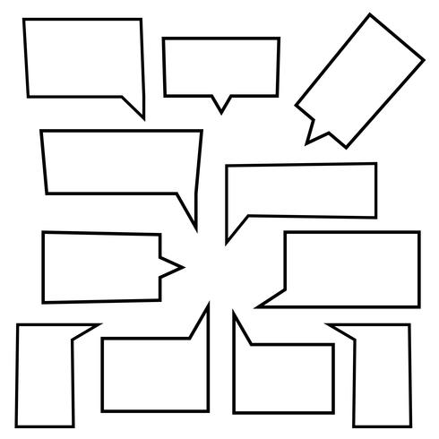 Conjunto de iconos lineales de burbujas de discurso en forma de rectángulo