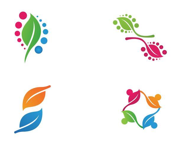 Logotipos de vector de elemento de naturaleza de hoja verde ecología