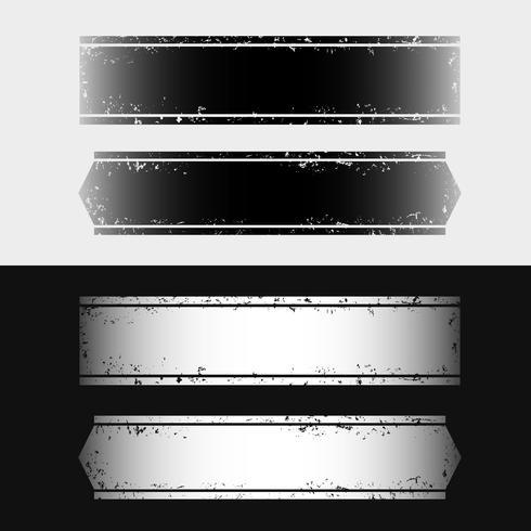 Conjunto, banners horizontales estilo grunge blanco y negro. vector
