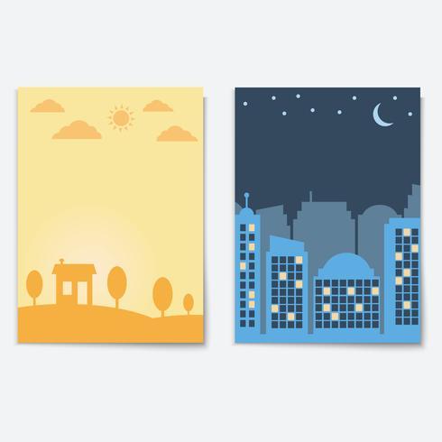 Ciudad paisaje noche y día banners de ciudad aislados vector