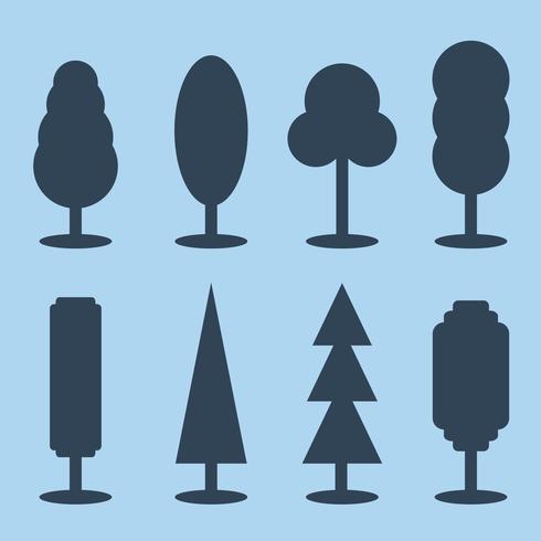 Vector conjunto de iconos de árbol de silueta simple