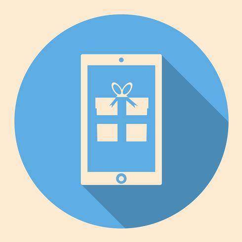 Smartphone met cadeau platte pictogramontwerp met lange schaduw