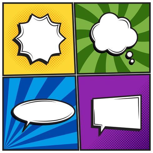 Set of retro thinking speech bubbles in Pop Art comic style vector
