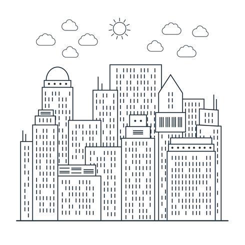 Modern stadsbeeld in lijnstijl