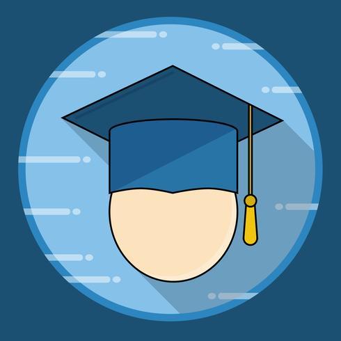 Icono de gorra de graduación con larga sombra vector