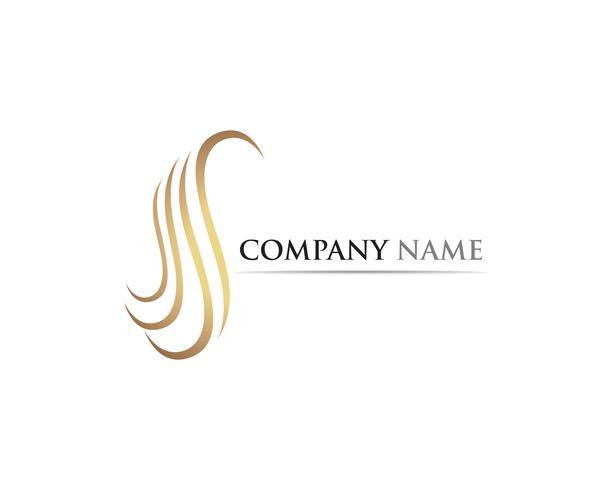 logo de vague de cheveux et de vecteur de symboles