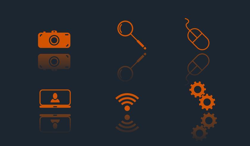 vektor uppsättning av 6 web platta ikoner
