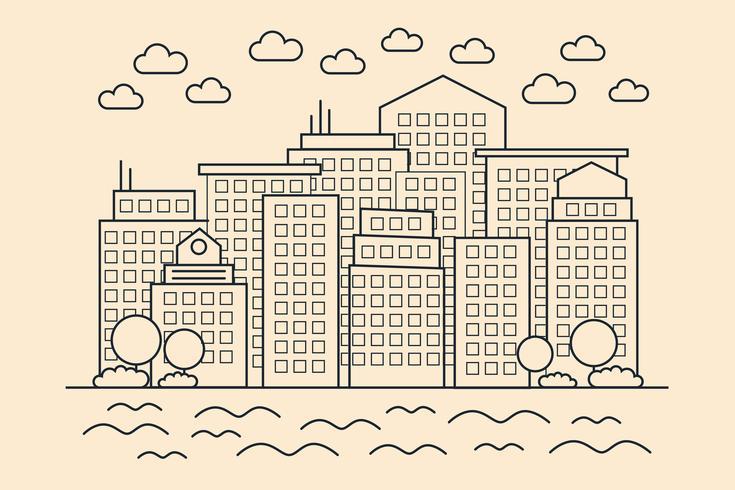 Ciudad lineal moderna vector