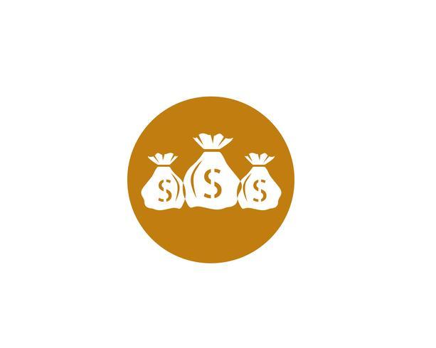 Ilustración de vector de plantilla de icono de bolsa de dinero