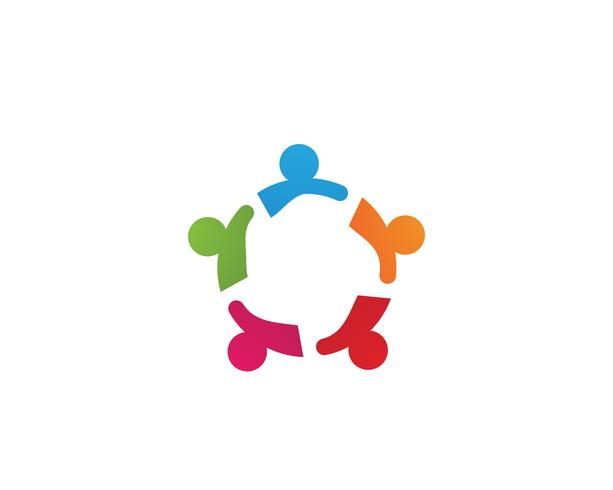 Logotipo y símbolos de personas de la comunidad. vector