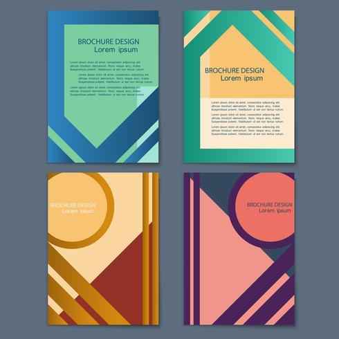 Vector conjunto de tarjetas de estilo retro con formas geométricas