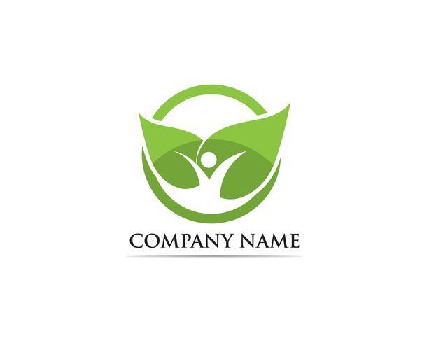 Logotipo de hoja verde de personas. vector