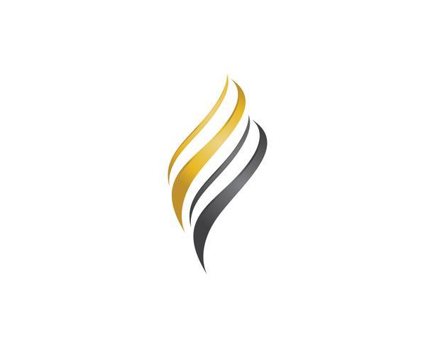 logotipo de onda de cabelo e vetor de símbolos