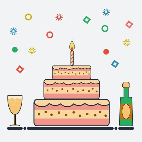 Birthday design in flat style vector