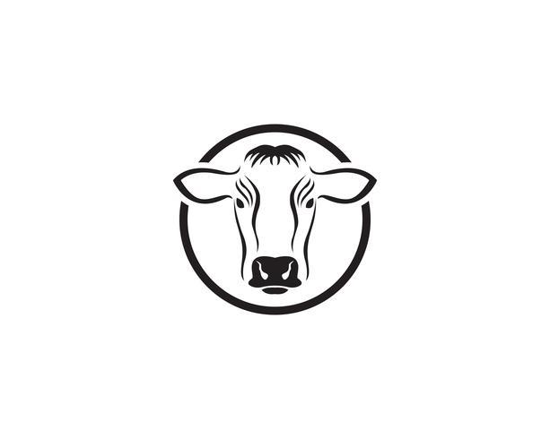 Illustrazione dell'icona di vettore del modello di logo della mucca