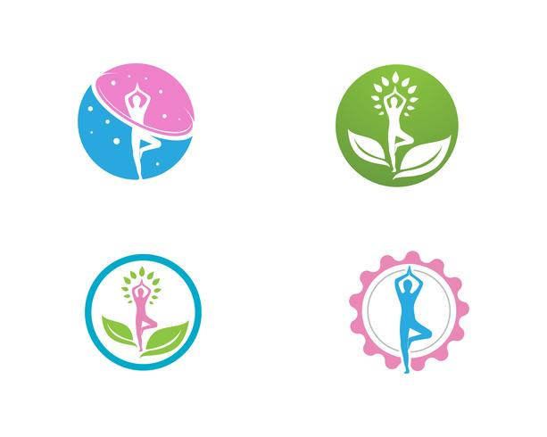 Yoga hälsa logotyp vektor mall