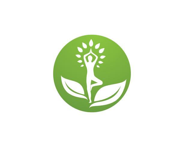 Modello di vettore di yoga salute logo