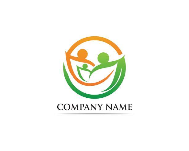Logotipo y símbolo de cuidado familiar.