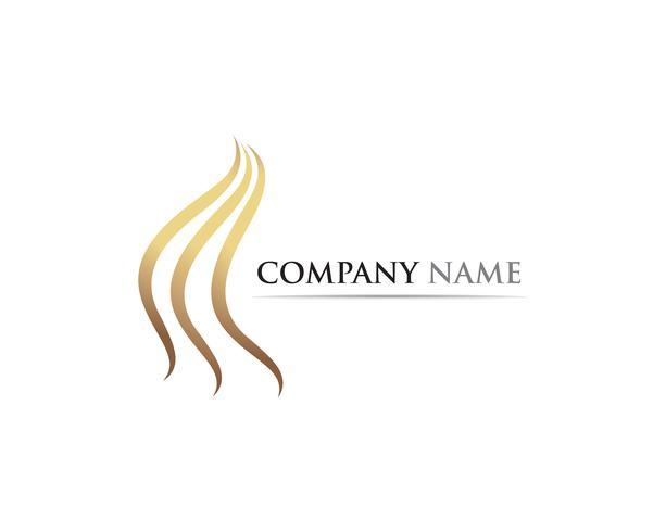 vettore di logo e simboli dell'onda dei capelli