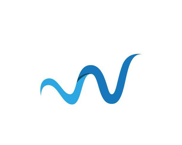 W Letter Water wave Ilustração em vetor modelo de logotipo