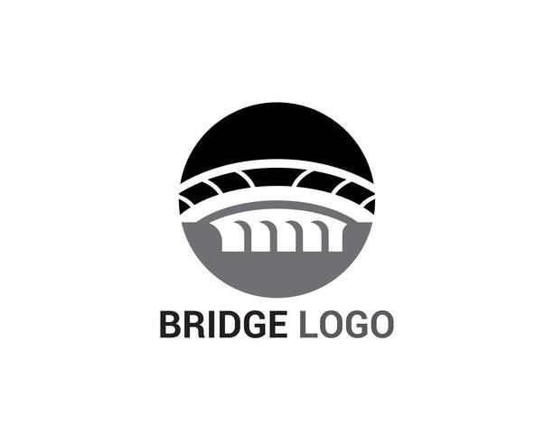 Brückenlogo und Symbolvektor-Schablonengebäude