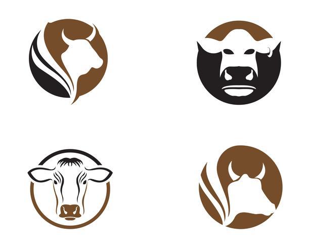 Ilustración de icono de vector de plantilla de logotipo de vaca