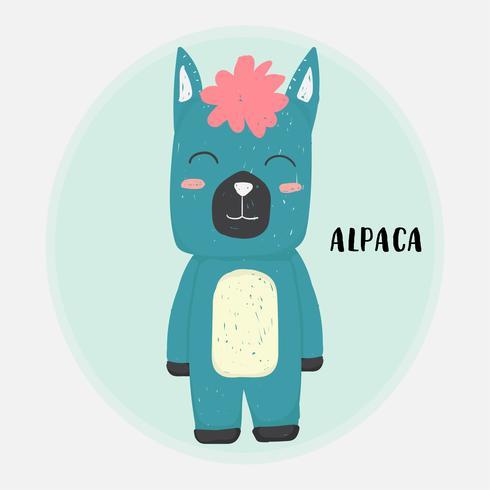 süße glückliche blaue Alpaka Zeichnung Gekritzel flache Vektor