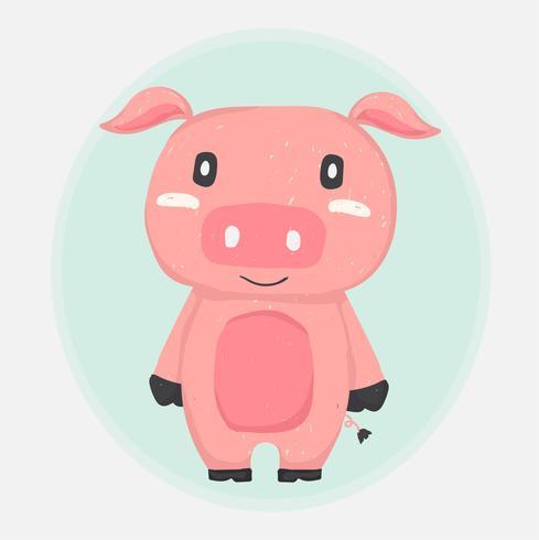 cute happy pink pig mascot drawing doodle flat vector