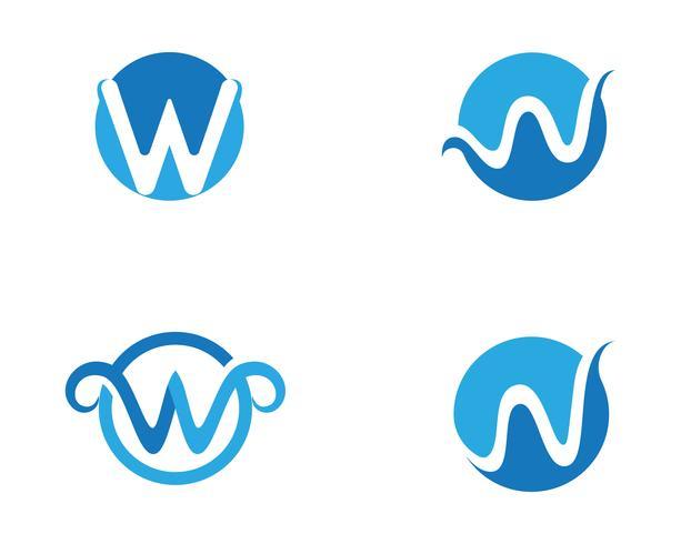 W-Buchstabe-Wasserwelle Logo Template-Vektorillustration
