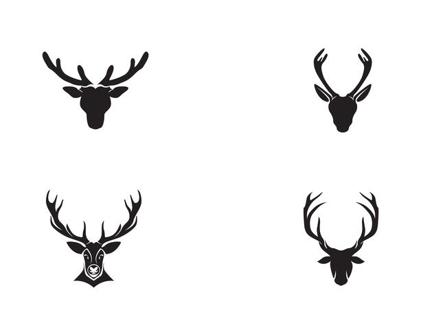 Hjorthuvud vektor logotyp svart
