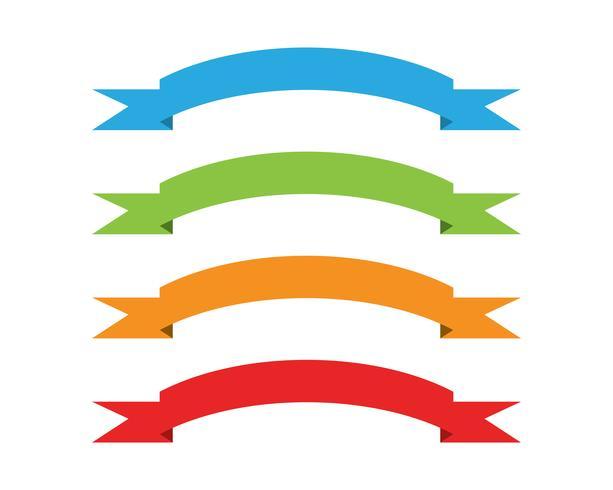 Bandeiras de fitas planas vector plana isoladas no branco
