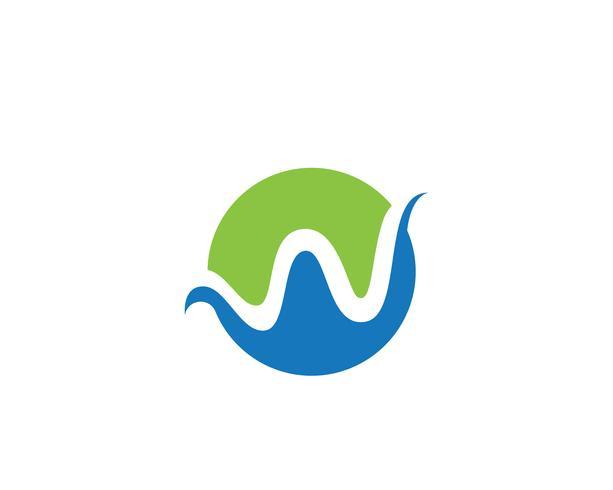 W Letter Vatten våg Logo mall vektor illustration