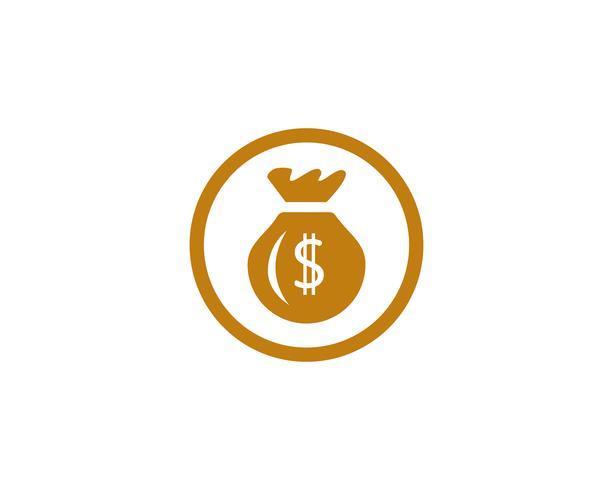 Geld-Taschenikone Schablonenvektorillustration