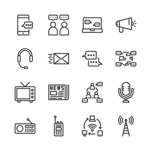 Conjunto de ícones de dispositivo de comunicação. Ilustração vetorial vetor