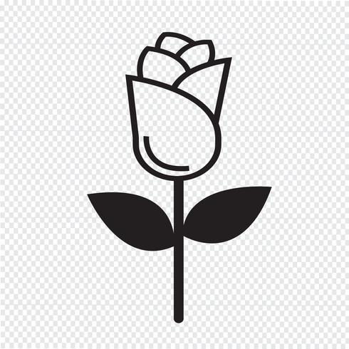 icono de rosa símbolo de signo vector