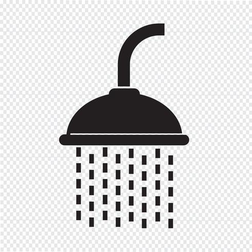 Sinal de símbolo de ícone de chuveiro