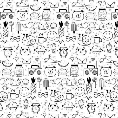 Muster mit Linie Hand gezeichneter Gekritzel-reizender Vektor-Hintergrund für Kind. Gekritzel lustig. Handgemachte Vektor-Illustration.