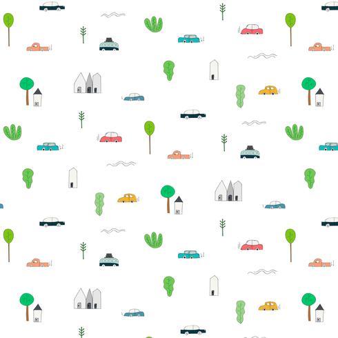 Teste Padrão Com Elementos Home Abstratos Do Carro E Da árvore De Projeto. Fundo Handmade Da Ilustração Do Vetor.