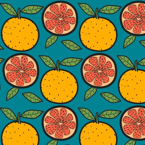 Oranges Fruit Pattern With Blue Background. Hand Drawn Vector Illustration.