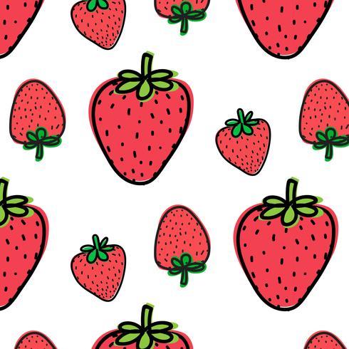 Jordgubbe Frukt Mönster Bakgrund. Vektor illustration.