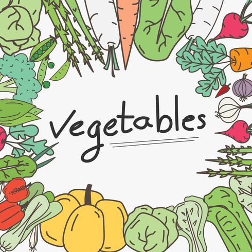Hand Drawn Vegetables Doodles Background.