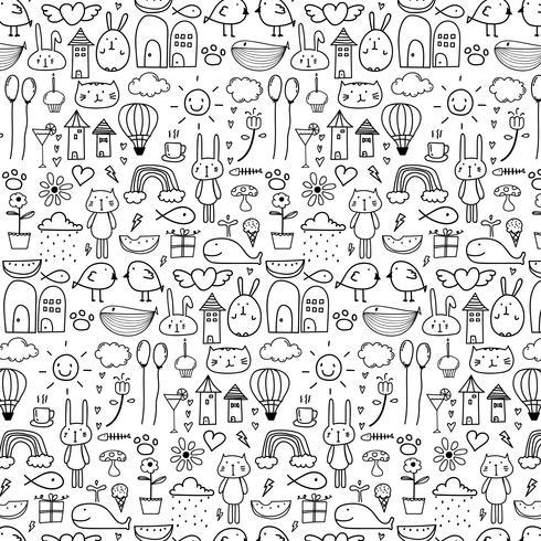 Patroon met lijn Hand getrokken Doodle mooie achtergrond voor Kid. Doodle grappig. Handgemaakte vectorillustratie.