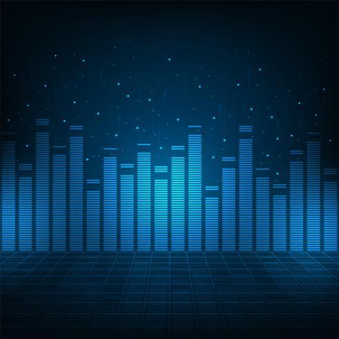 Digitale audiosystemen op een blauwe achtergrond. vector