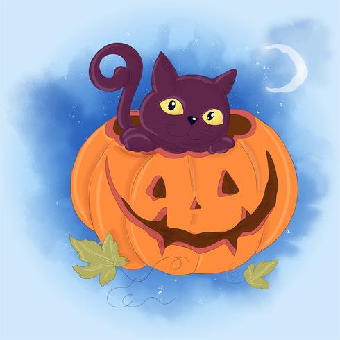Illustrazione sveglia del fumetto con un gatto e una zucca. Stampa di poster cartolina per la festa di Halloween.